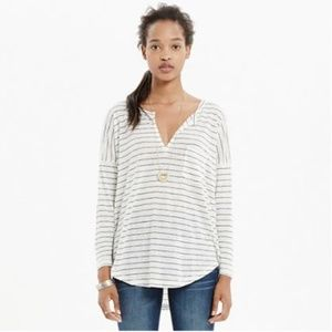 Madewell White 3/4 Sleeve Striped Linen Top - S
